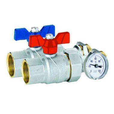 Kit robinet tur/retur olandez+termometru 1'' FIV