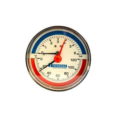 Termomanometru axial 1/2'' 6bar cadran 80mm TECNOGAS R01571