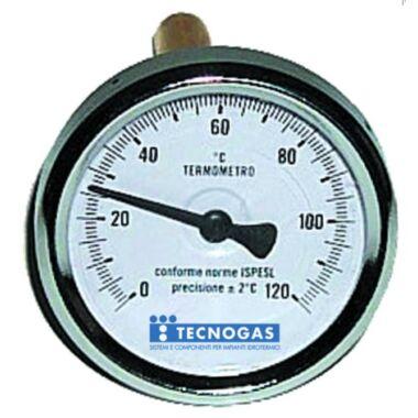 Termometru axial 1/2'' 120grC cad 80mm 100mm TECNOGAS R02959