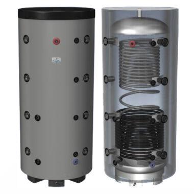 Rezervor de acumulare cu 1 serpentina pentru incalzire si cu 1 serpentina pentru prepararea apa calda menajera Hajdu, 500 l