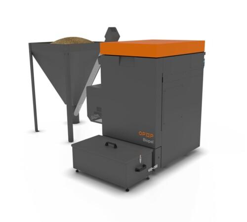 Cazan pe peleti Biopel Premium OPOP, 40 kW, V9, cu rezervor separat de 220 kg