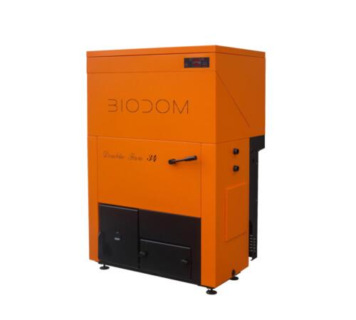 Cazan pe peleti 30 kW, cu pompa bypass, Biodom Double Fan 34