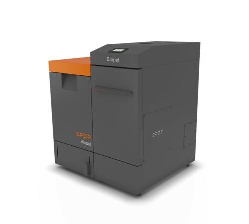 Cazan pe peleti Biopel Premium OPOP, 40 kW, V9, cu rezervor compact de 250 kg
