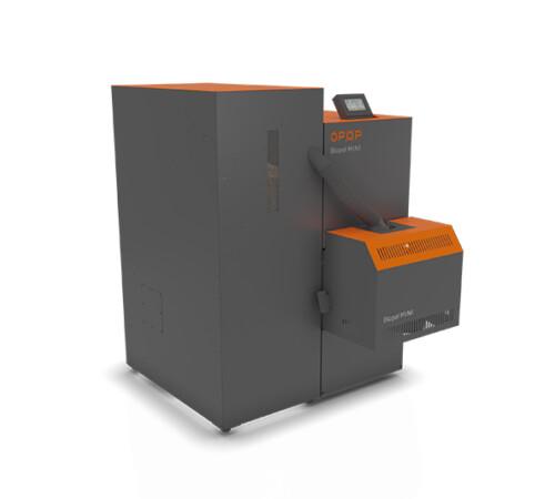Cazan pe peleti Biopel Mini OPOP, 40 kW, cu rezervor compact de 225 kg
