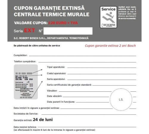 Cupon garantie extinsa 2 ani BOSCH