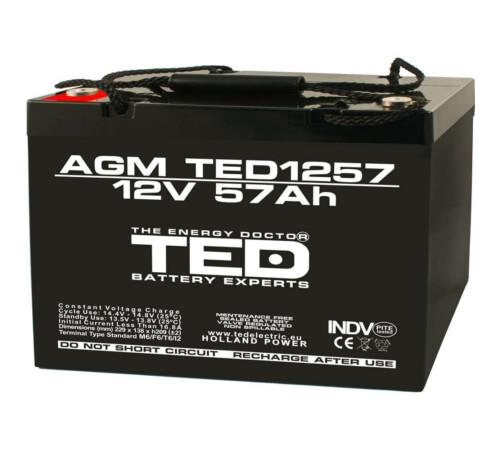Acumulator stationar 12 V 57 Ah AGM VRLA M6 TED Electric