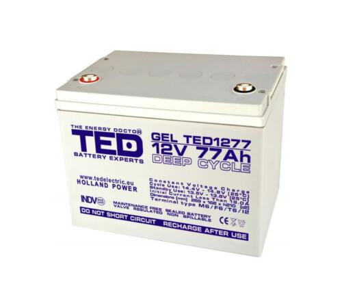 Acumulator stationar VRLA 12 V 77 Ah GEL Deep Cycle M6 TED Electric